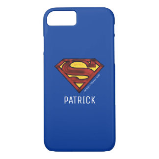 Superman S-Shield | Darkened Red Logo | Add Name iPhone 7 Case