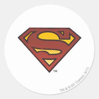 Superman S-Shield | Faded Dots Logo Round Sticker