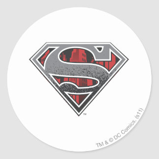 Superman S-Shield | Grey and Red City Logo Round Sticker