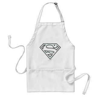 Superman S-Shield | Grunge Black Outline Logo Standard Apron