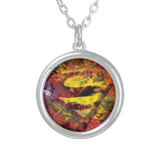 Superman S-Shield | Grunge Logo Round Pendant Necklace