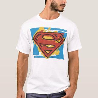 Superman S-Shield | Painted Blue Background Logo T-Shirt