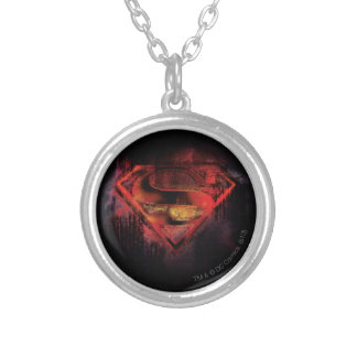 Superman S-Shield | Painted Logo Round Pendant Necklace