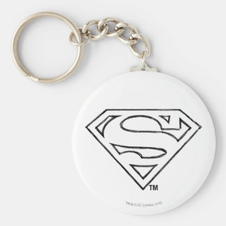 Superman S-Shield | Simple Black Outline Logo Key Ring