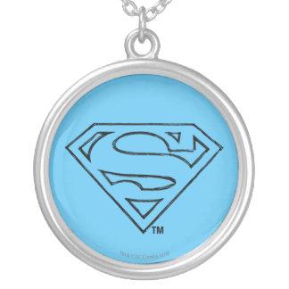 Superman S-Shield   Simple Black Outline Logo Round Pendant Necklace
