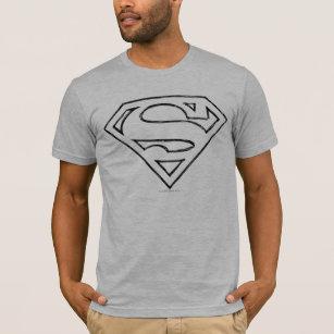 85305a84 Superman S-Shield | Simple Black Outline Logo T-Shirt