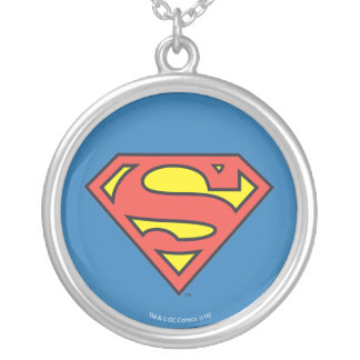 Superman S-Shield   Superman Logo Round Pendant Necklace
