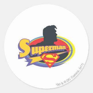 Superman Silhouette Round Sticker