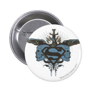 Superman Skulls - Blue 6 Cm Round Badge