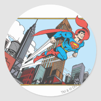 Superman & Skyscrapers Round Sticker
