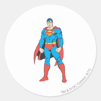 Superman Standing Round Sticker