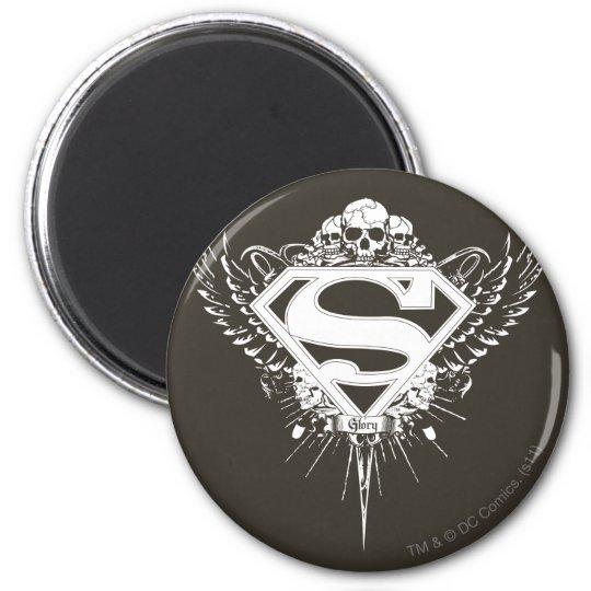 Superman Stylised | Dark Brown Background Logo Magnet