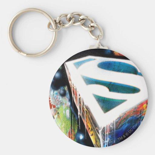 Superman Stylised   Urban Graffiti Logo Basic Round Button Key Ring