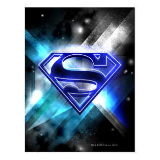 Superman Stylized | Blue White Crystal Logo Postcard