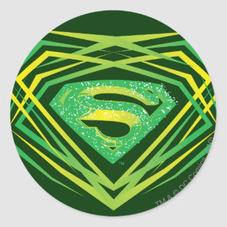 Superman Stylized | Green Decorative Logo Round Sticker