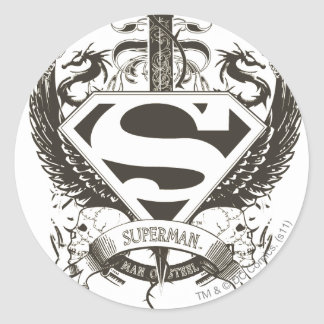 Superman Stylized | Honor, Truth on White Logo Classic Round Sticker