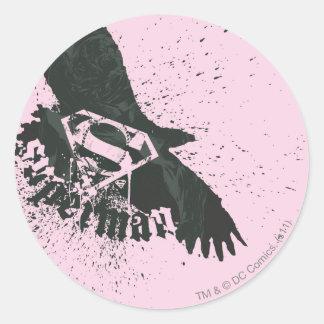 Superman Stylized | Pink with Bird Logo Round Sticker