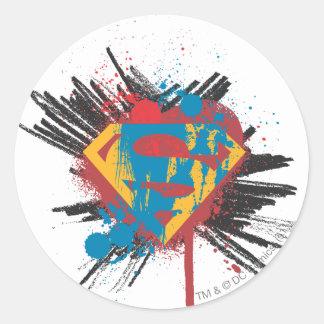 Superman Stylized | Splatter Logo Round Sticker