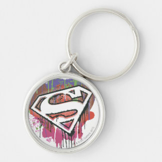 Superman Stylized | Twisted Innocence Logo Silver-Colored Round Key Ring