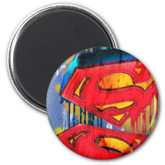 Superman Stylized | Urban Spraypaint Logo 6 Cm Round Magnet