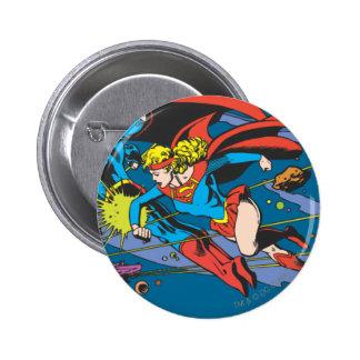 Superman & Supergirl Flying 6 Cm Round Badge