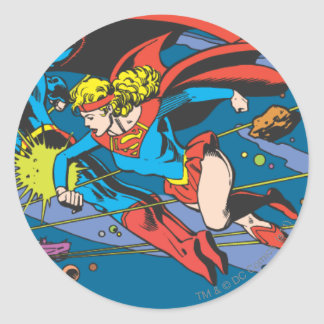 Superman & Supergirl Flying Round Stickers