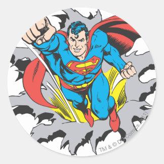 Superman Tears Thru Round Sticker