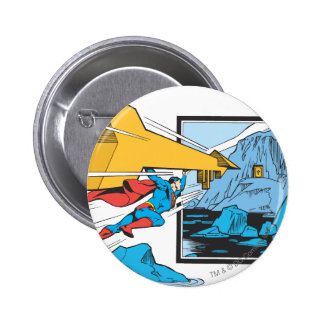 Superman Tunneling Into Rock 6 Cm Round Badge
