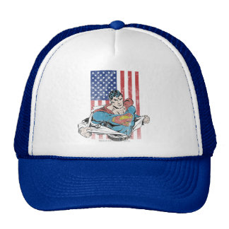 Superman & US Flag Mesh Hat