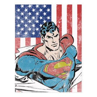 Superman & US Flag Postcard