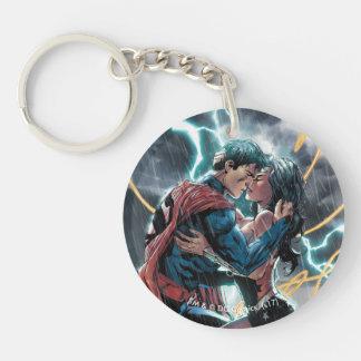 Superman/Wonder Woman Comic Promotional Art Double-Sided Round Acrylic Key Ring