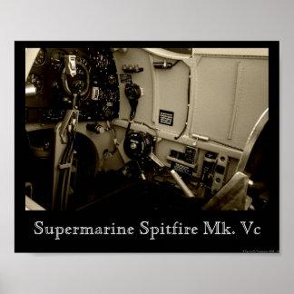 Supermarine Spitfire Cockpit Poster