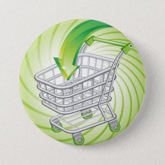 Supermarket Shopping Cart 7.5 Cm Round Badge