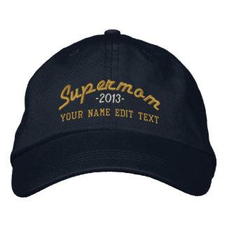 Supermom Edit Text and YEAR Super MOM Baseball Cap