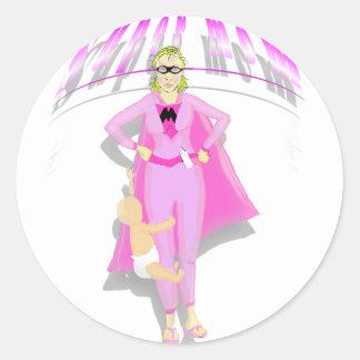 supermom round sticker