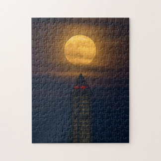 Supermoon Over Washington Monument Jigsaw Puzzle