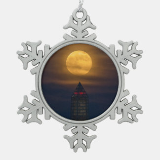 Supermoon Over Washington Monument Snowflake Pewter Christmas Ornament