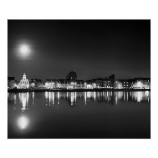Supermoon rising over Norfolk town UK BW Poster