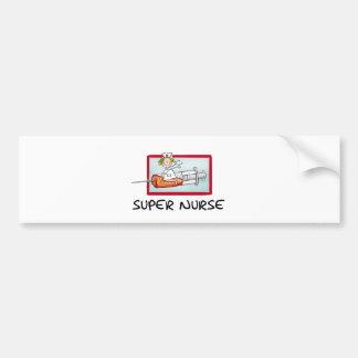 supernurse - Humorous Cartoon Nurse on Syringe. Bumper Sticker