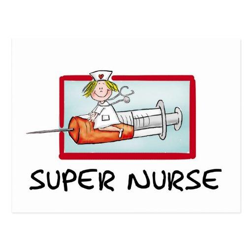 supernurse - Humorous Cartoon Nurse on Syringe. Postcards