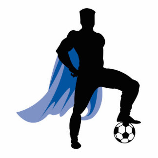 supero hero soccer player photo sculpture