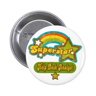 Superstar Help Desk Analyst Pinback Buttons