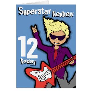 Superstar Nephew 12th birthday blue red boy card