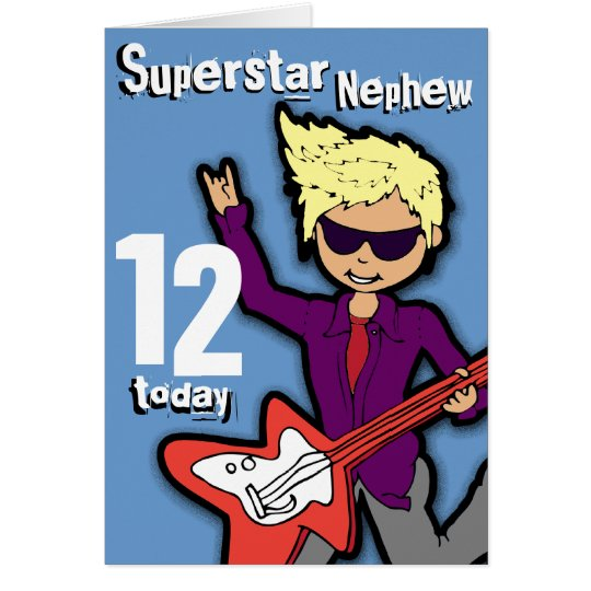 Superstar Nephew 12th birthday blue red boy card