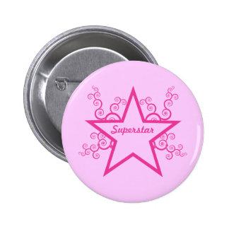 Superstar Swirls Button, Bright Pink 6 Cm Round Badge