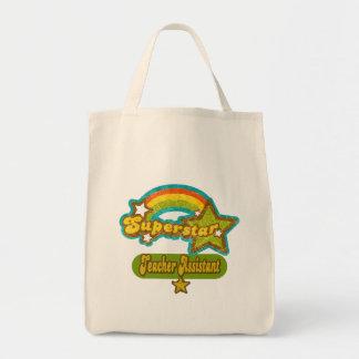 Superstar Teacher Assistant Grocery Tote Bag