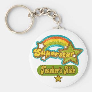 Superstar Teacher's Aide Basic Round Button Key Ring