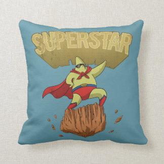 Superstar Yellow Star Superhero on a Rock Cushion