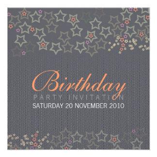 Superstars Grey Birthday Invitation