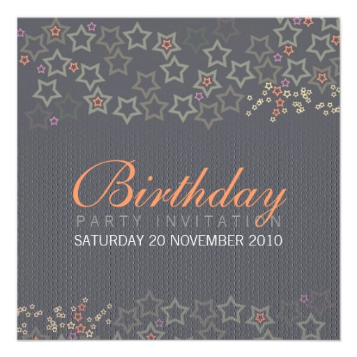 Superstars (Grey) Birthday Invitation